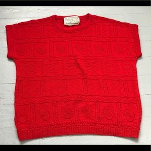 Bright red slouchy knit crewneck tee